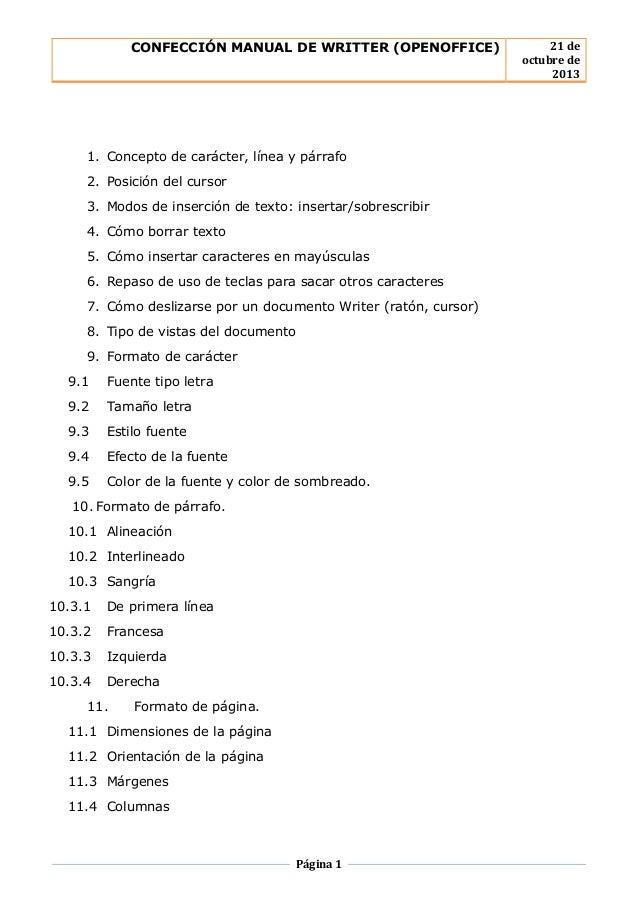 manual de writter