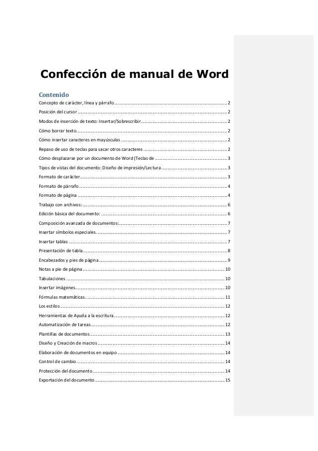 Confección de manual de Word Contenido Concepto de carácter, línea y párrafo ................................................