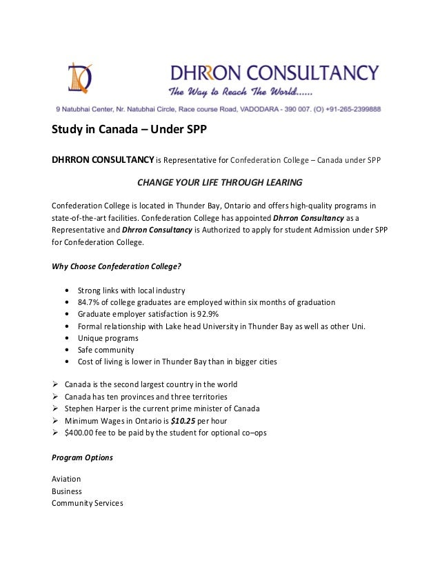 Study in Canada – Under SPP DHRRON CONSULTANCY is Representative for Confederation College – Canada under SPP CHANGE YOUR ...
