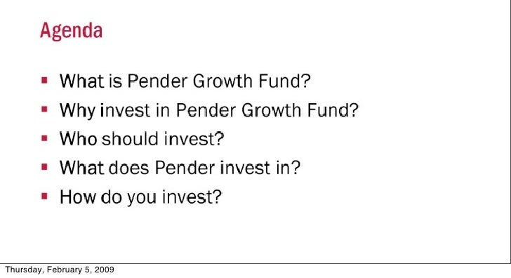 Pender Growth Fund Conference Call - January 28th, 2009