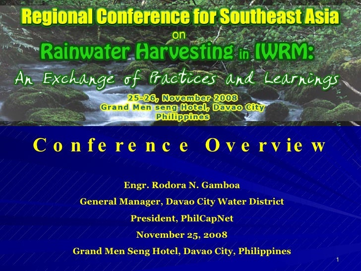 Regional Conference for SE Asia on Rainwater Harvesting in IWRM
