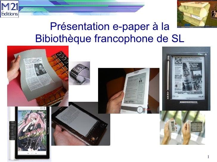 Présentation e-paper à la Bibiothèque francophone de SL