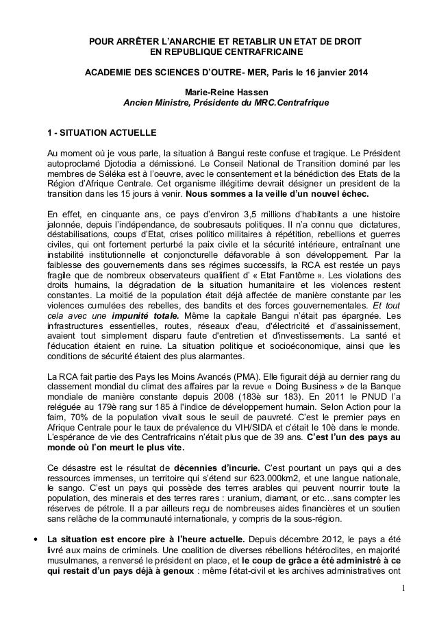 POUR ARRÊTER L'ANARCHIE ET RETABLIR UN ETAT DE DROIT EN REPUBLIQUE CENTRAFRICAINE ACADEMIE DES SCIENCES D'OUTRE- MER, Pari...
