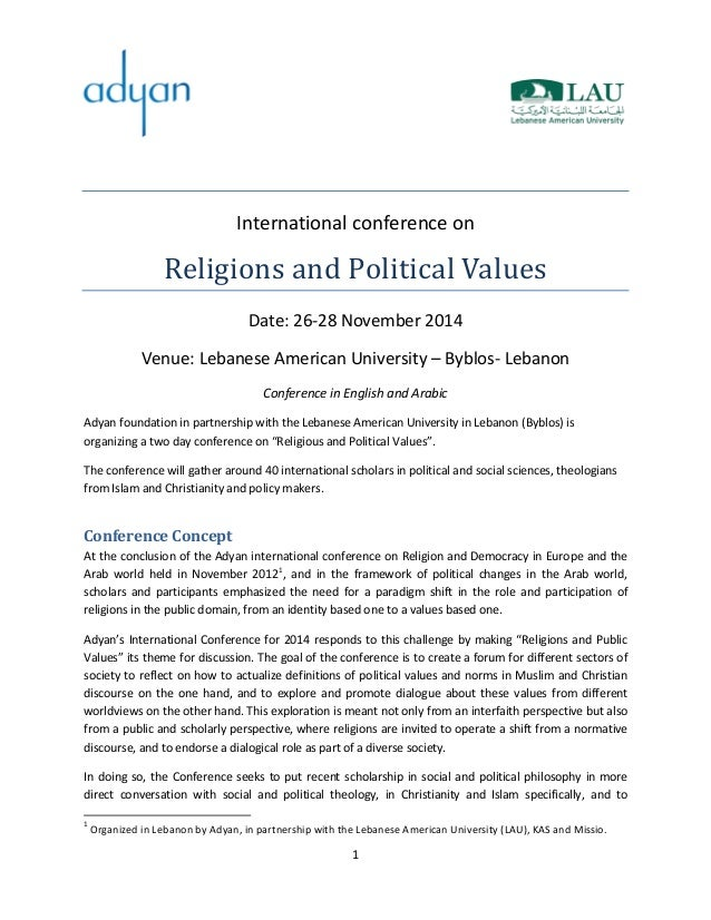 "Call for papers, International Conference on ""Religions and Political Values,"" Lebanese American University, Byblos (Lebanon), 26-28 Nov. 2014, deadline: 1 Sept. 2014"