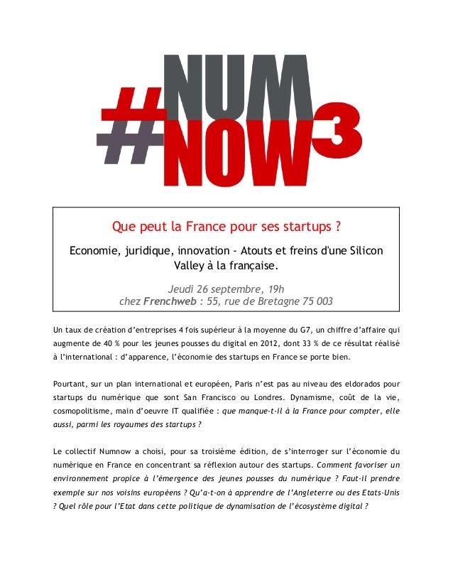 Que peut la France pour ses startups ? Economie, juridique, innovation - Atouts et freins d'une Silicon Valley à la frança...