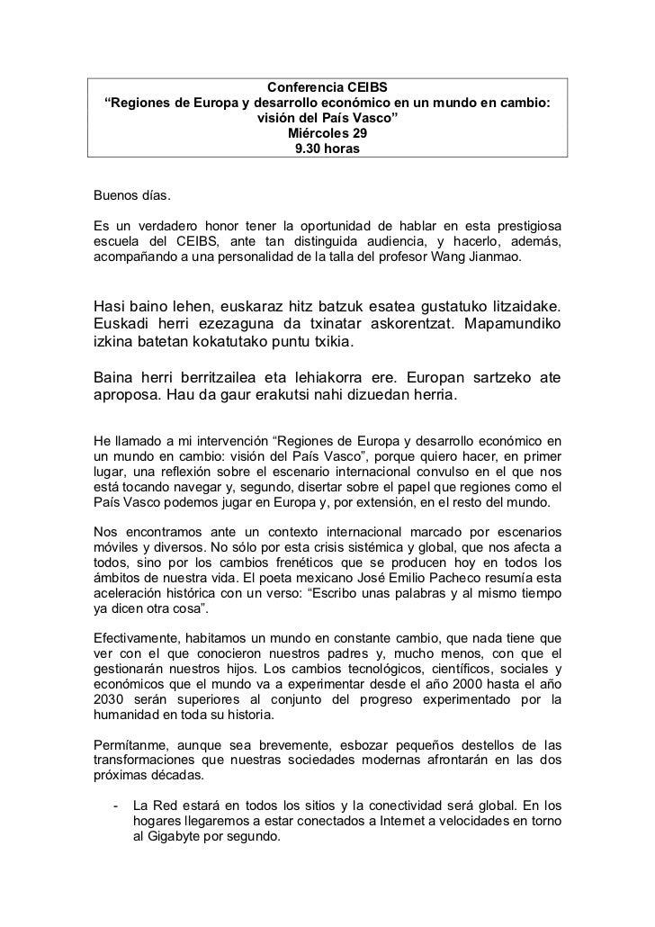 """Conferencia CEIBS  """"Regiones de Europa y desarrollo económico en un mundo en cambio:                        visión del Paí..."""