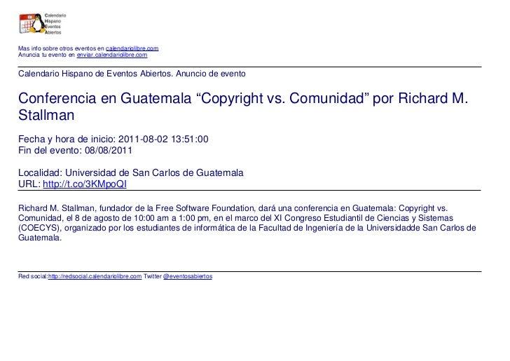 """Conferencia en Guatemala """"Copyright vs. Comunidad"""" por Richard M. Stallman"""
