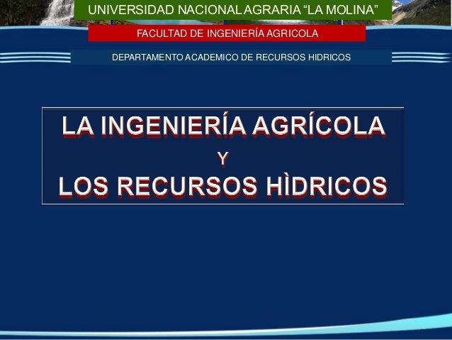 """UNIVERSIDAD NACIONAL AGRARIA """"LA MOLINA"""" FACULTAD DE INGENIERÍA AGRICOLA DEPARTAMENTO ACADEMICO DE RECURSOS HIDRICOS"""
