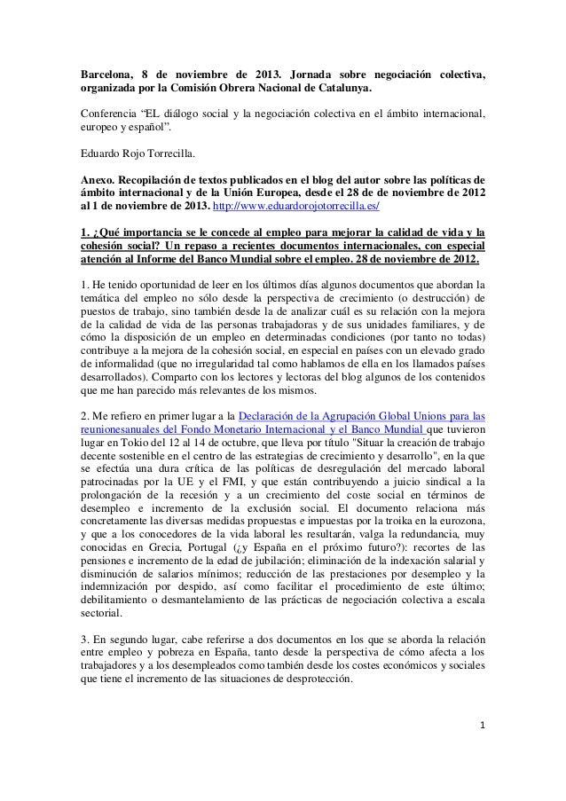 Conferencia 8.11.2013. Diálogo social y negociación colectiva. Anexo.