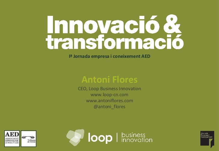 Iª Jornada empresa i coneixement AED Antoni Flores CEO, Loop Business Innovation www.loop-cn.com www.antoniflores.com @ant...