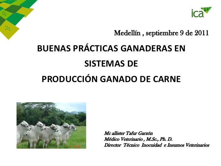 Medellín , septiembre 9 de 2011BUENAS PRÁCTICAS GANADERAS EN         SISTEMAS DEPRODUCCIÓN GANADO DE CARNE             Mc ...