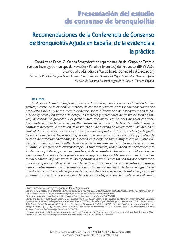 Conferencia consenso Bronquiolitis aguda: de la evidencia a la practica