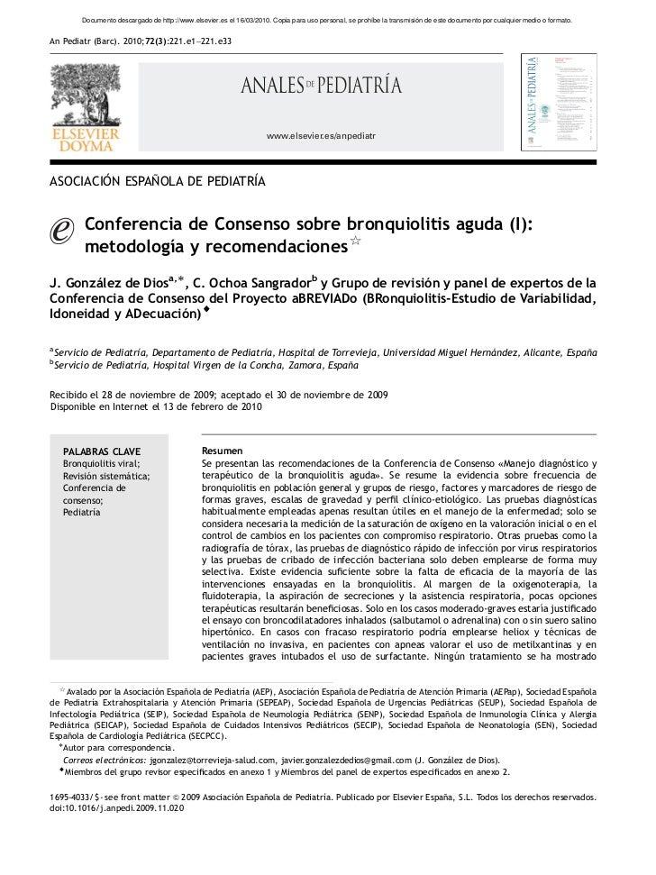 Conferencia consenso Bronquiolitis aguda(i) metodologia y recomendaciones