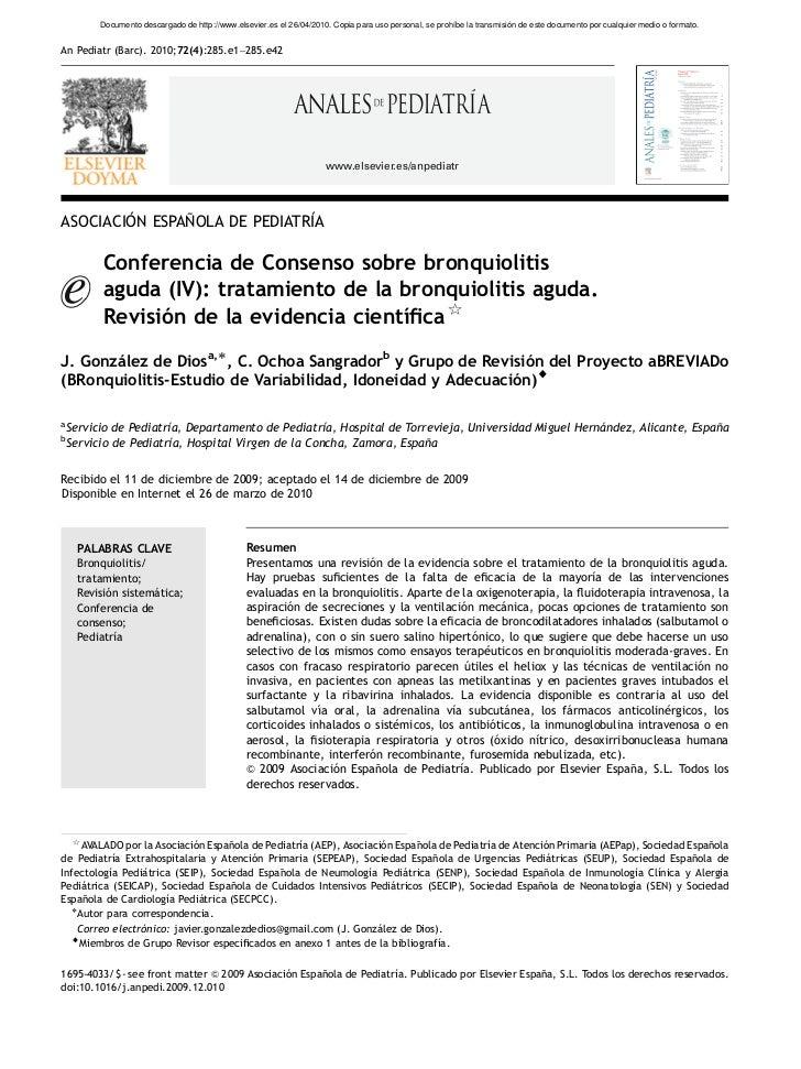 Conferencia consenso Bronquiolitis aguda (iv) tratamiento