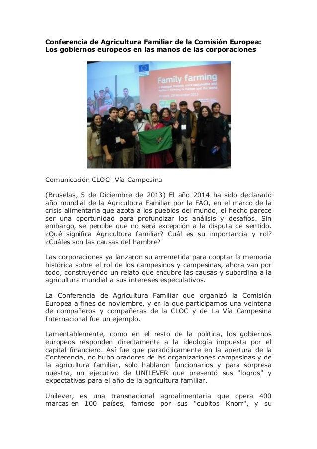 Conferencia de Agricultura Familiar de la Comisión Europea: Los gobiernos europeos en las manos de las corporaciones