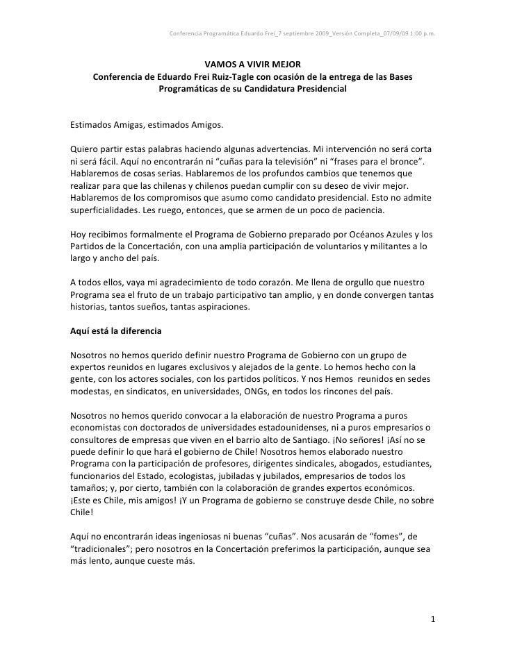 Eduardo Frei Ruiz-Tagle entrega programa de gobierno
