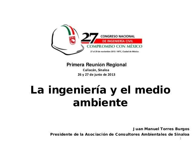 1.-La ingeniería y el medio ambiente, Reunión Regional Sinaloa 2013
