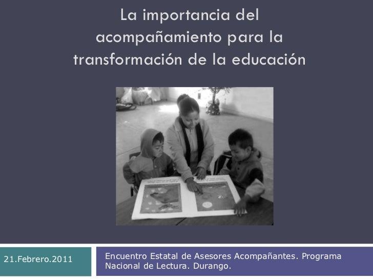 """Conferencia """"la importancia del acompañamiento para la transformación de la educación"""" por la dra. maría guadalupe pérez"""