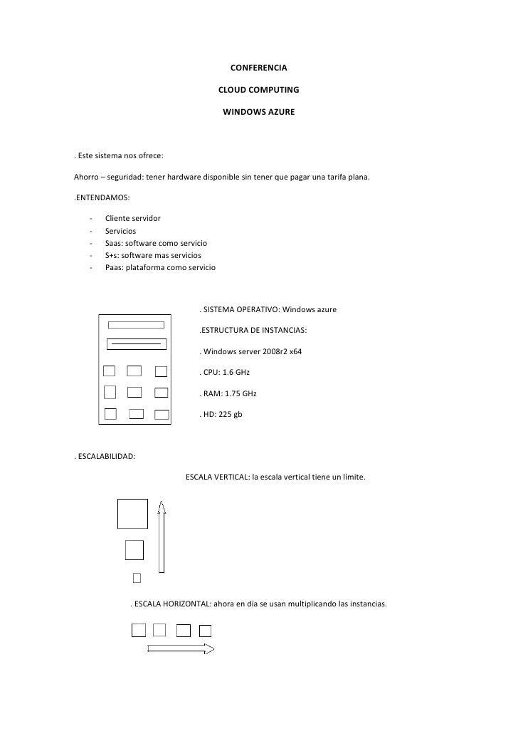 CONFERENCIA<br />CLOUD COMPUTING<br />WINDOWS AZURE<br />. Este sistema nos ofrece:<br />Ahorro – seguridad: tener hardwar...