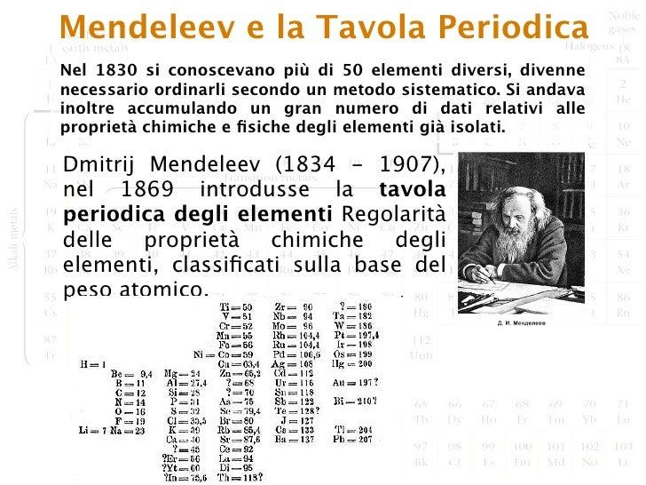 La tavola periodica degli elementi tra terra e spazio - Mendeleev e la tavola periodica ...