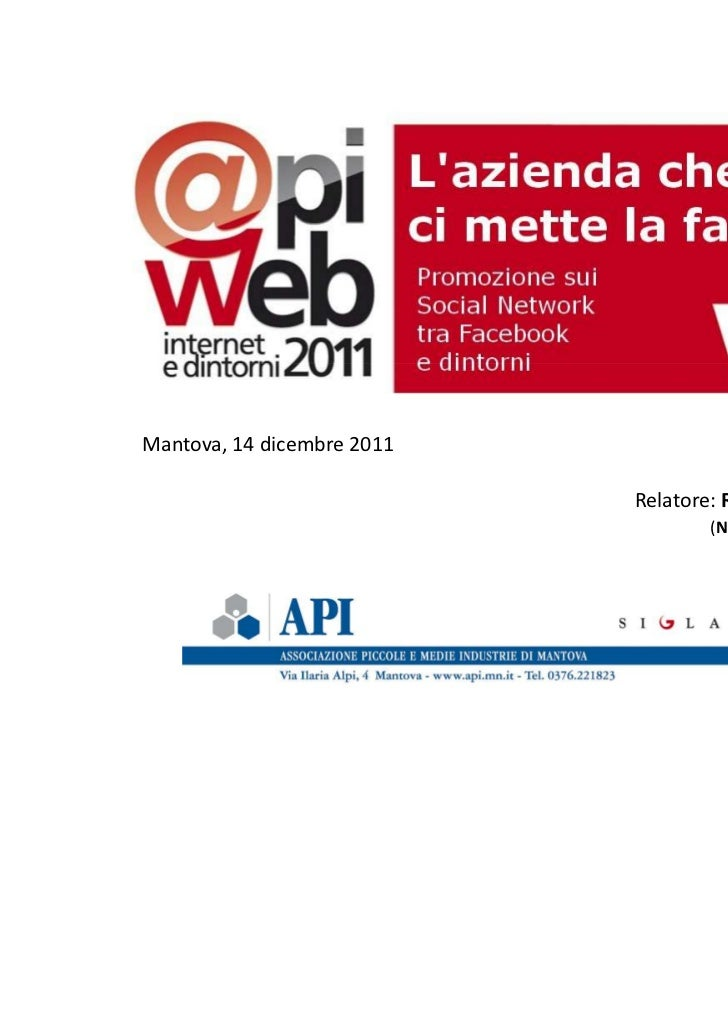 Conferenza Apiweb del 14/12/2011
