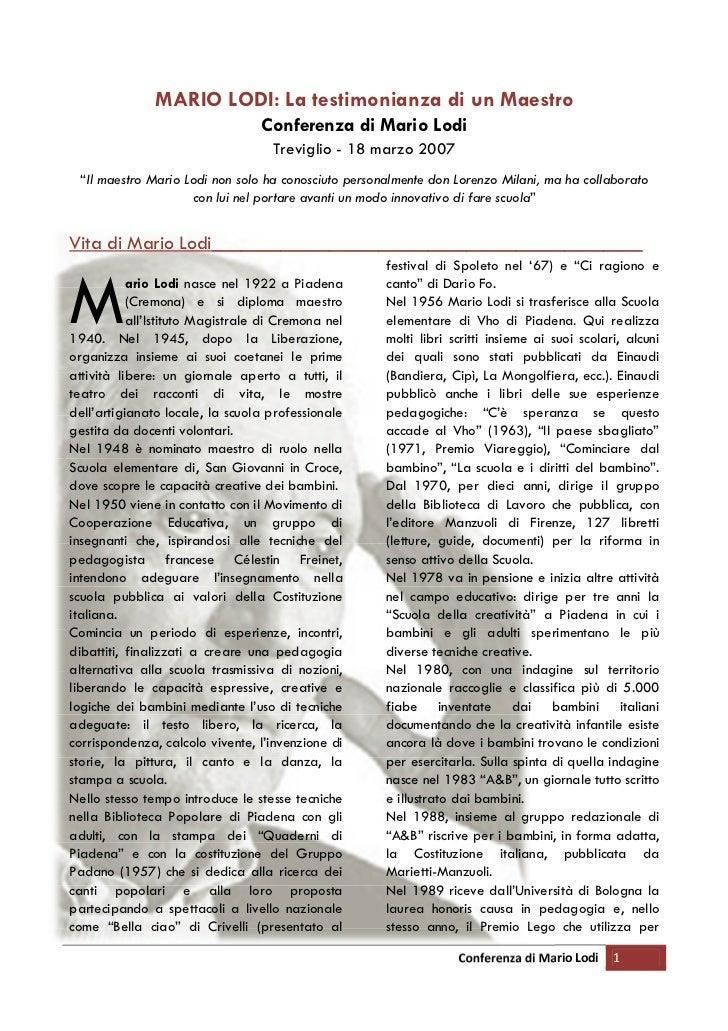 MARIO LODI: La testimonianza di un Maestro                                  Conferenza di Mario Lodi                      ...