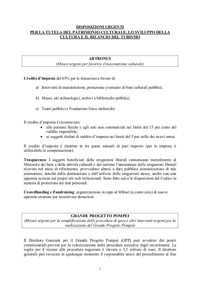 ARTBONUS e tax credit per cultura e turismo: presentazione DL Franceschini