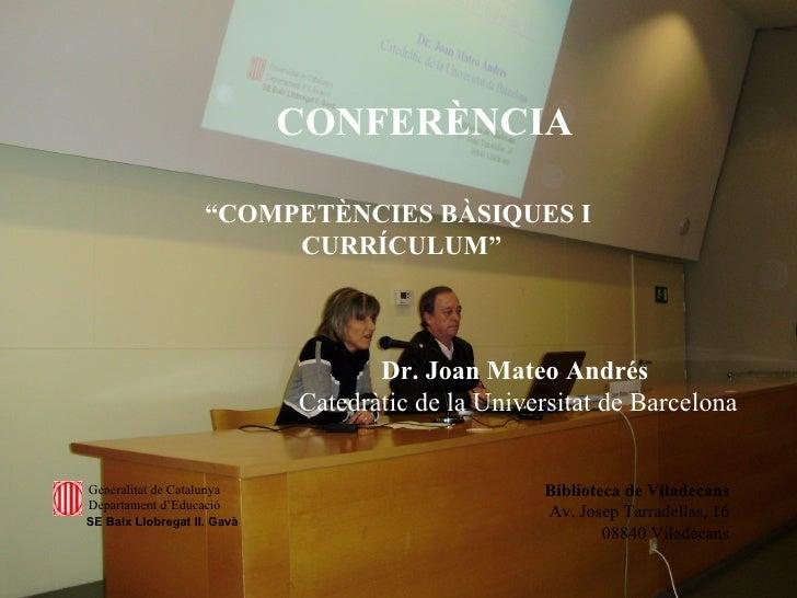 Conferència Joan Mateo