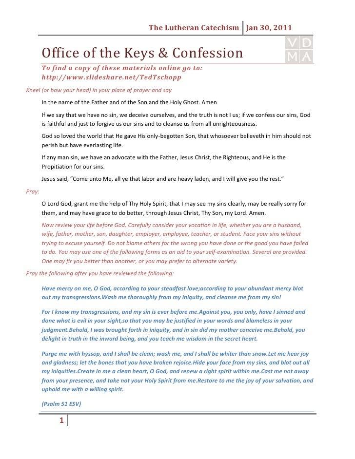 Confession handout