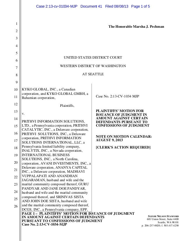 PAGE 1 – PLAINTIFFS' MOTION FOR ISSUANCE OF JUDGMENT IN AMOUNT AGAINST CERTAIN DEFENDANTS PURSUANT TO CONFESSIONS OF JUDGM...