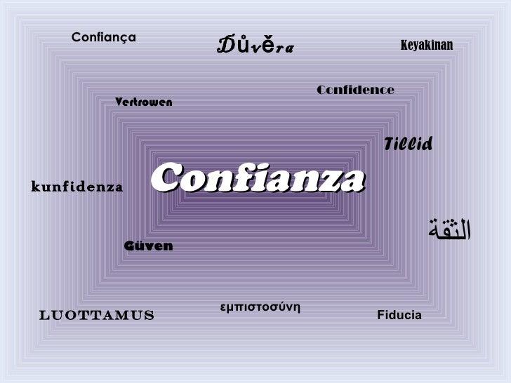Confianza Confiança Důvěra   Güven   Vertrowen   εμπιστοσύνη   luottamus   Tillid   Fiducia   Confidence   Keyakinan   الث...
