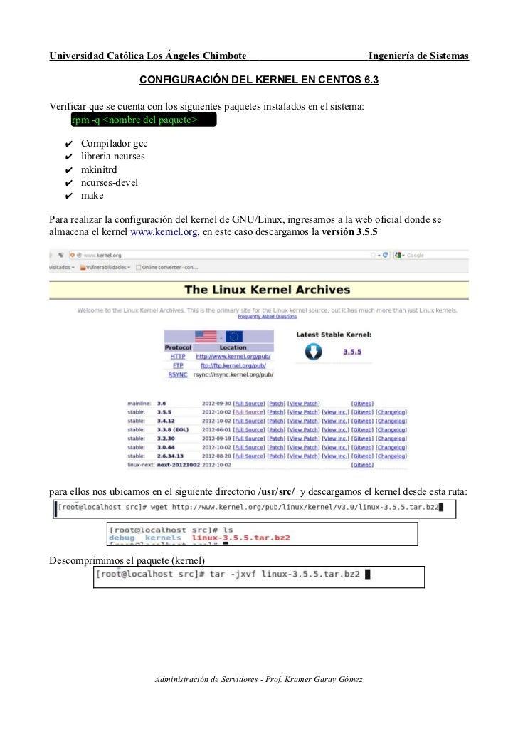 Configuración del Kernel en CenOS