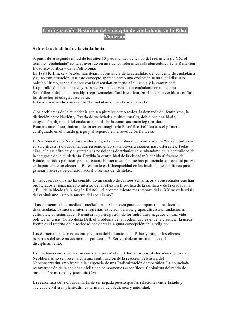 Configuración Histórica del concepto de ciudadanía en la Edad                               ModernaSobre la actualidad de ...
