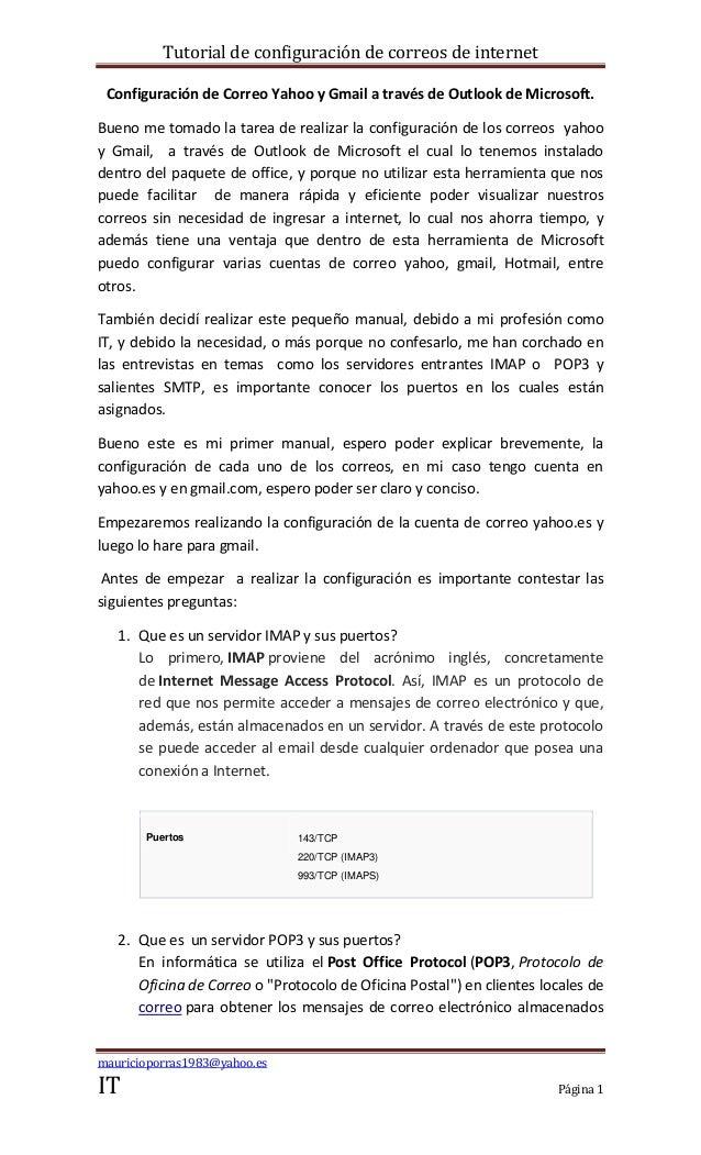 Tutorial de configuración de correos de internet Configuración de Correo Yahoo y Gmail a través de Outlook de Microsoft.Bu...