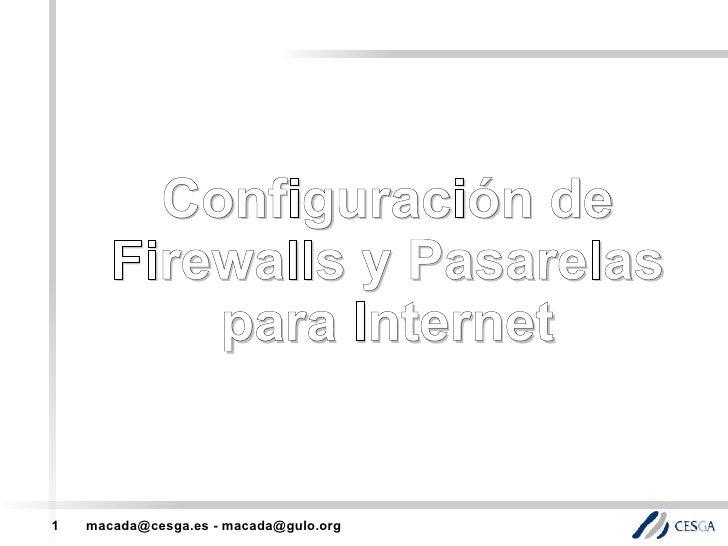 Configuracion de Firewalls e Pasarelas
