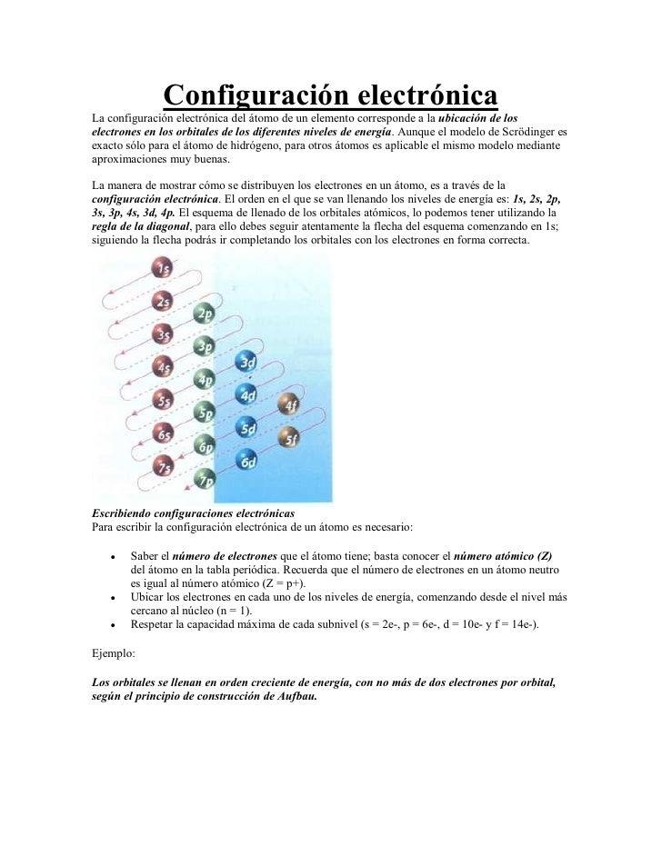 Configuración electrónicaLa configuración electrónica del átomo de un elemento corresponde a la ubicación de loselectrones...