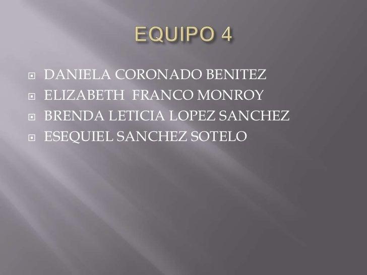    DANIELA CORONADO BENITEZ   ELIZABETH FRANCO MONROY   BRENDA LETICIA LOPEZ SANCHEZ   ESEQUIEL SANCHEZ SOTELO
