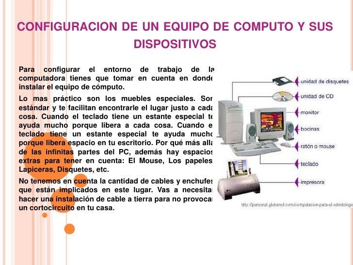 CONFIGURACION DE UN EQUIPO DE COMPUTO Y SUS               DISPOSITIVOSPara configurar el entorno de trabajo de lacomputado...