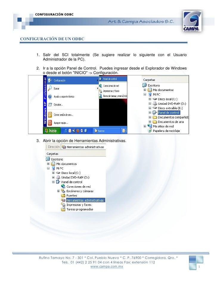 Configuracion ODBC en SCI SERVER