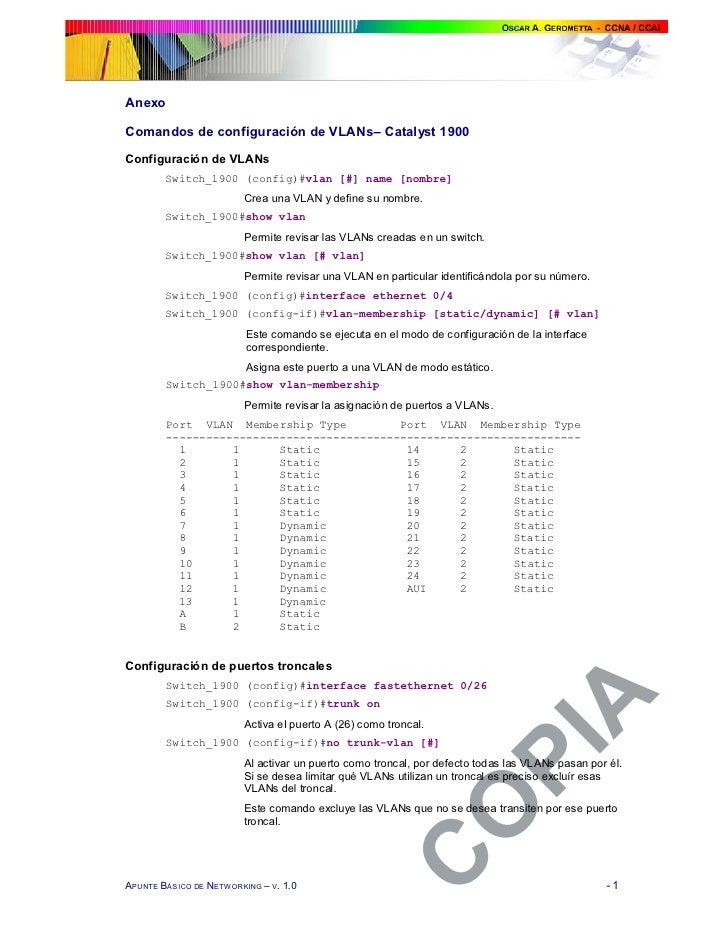 Anexo  Comandos de configuración de VLANs– Catalyst 1900  Configuración de VLANs         Switch_1900 (config)#vlan [#] nam...