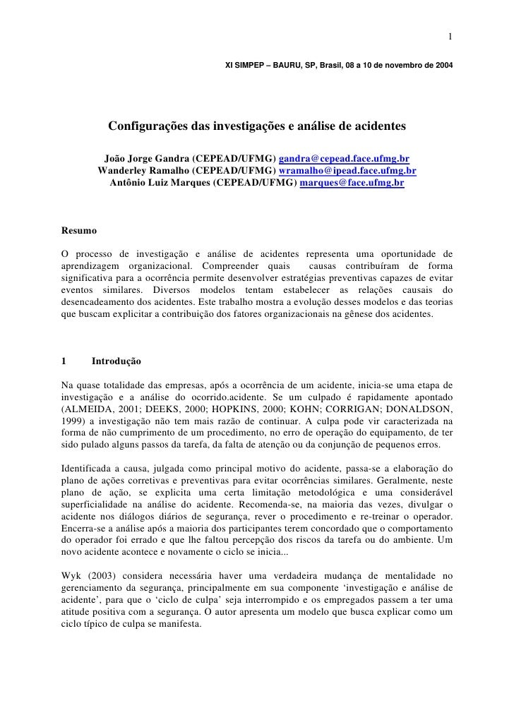 Configurações das investigações e análise de acidentes