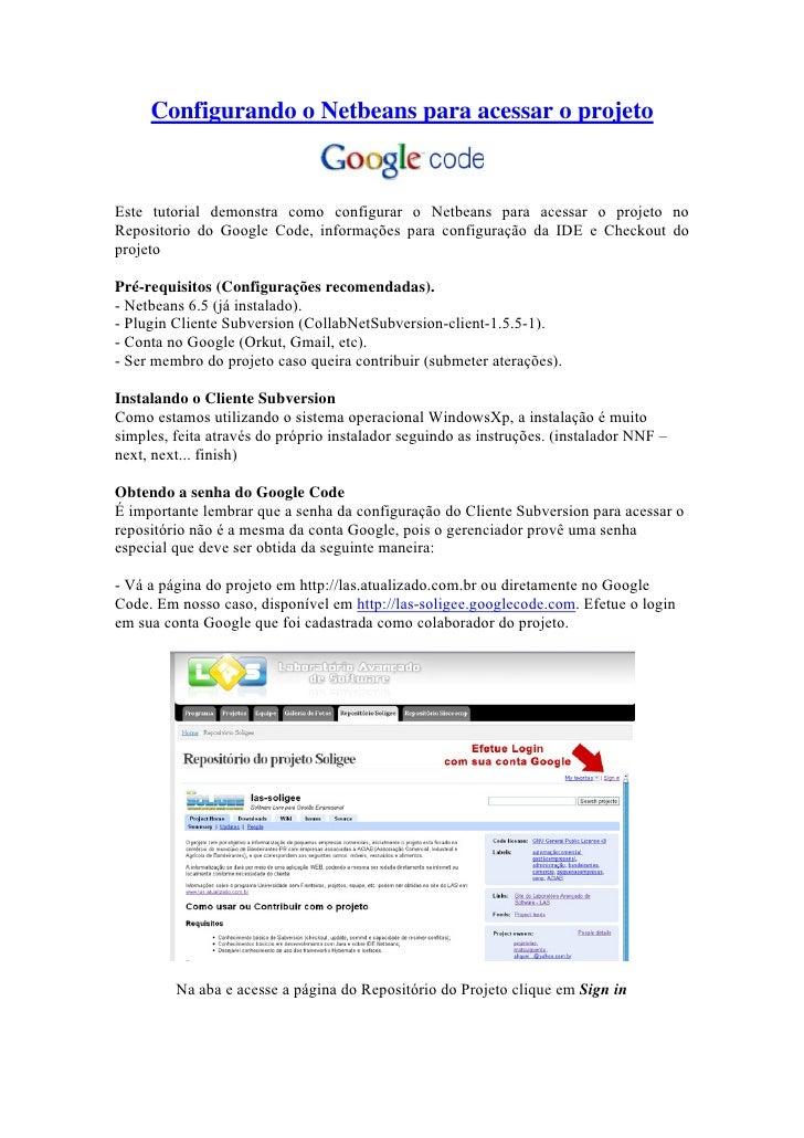 Configurando O  Netbeans Para Acessar O  Google  Code