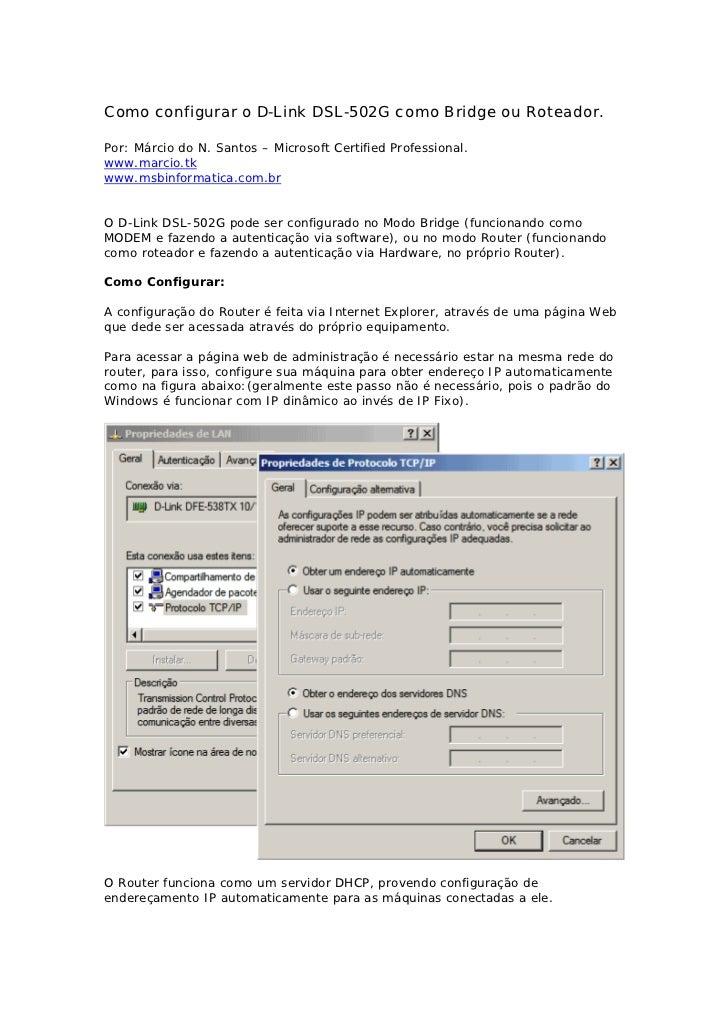 Configurar dsl502 g