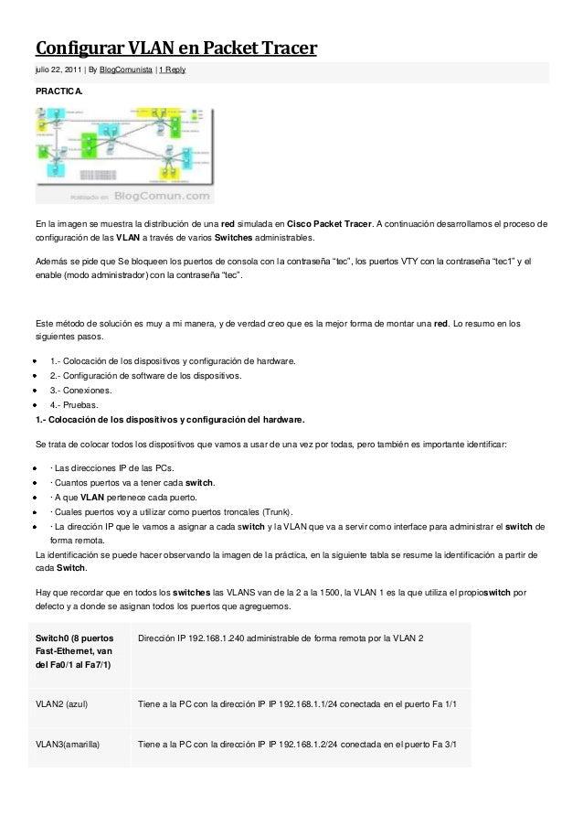 Configurar VLAN en Packet Tracerjulio 22, 2011 | By BlogComunista | 1 ReplyPRACTICA.En la imagen se muestra la distribució...