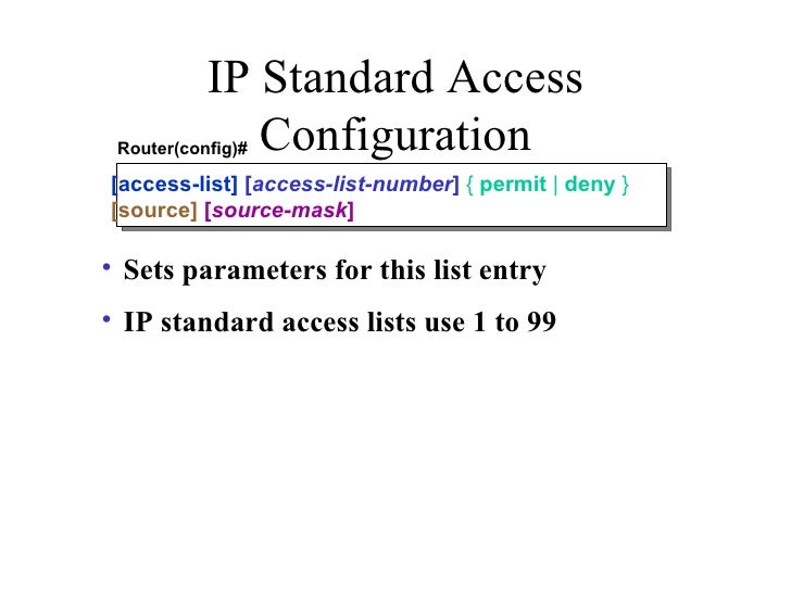 Configuraton of standard access list and extented access lis