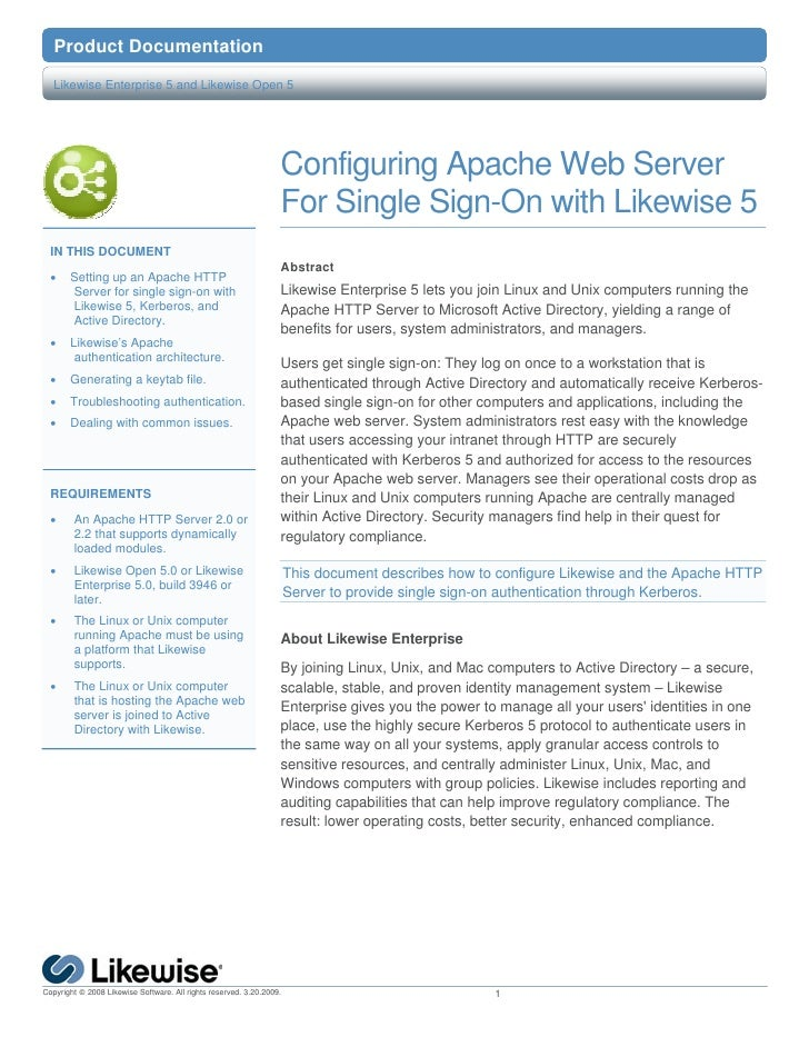 Configuring Apache Web Server for Single Sign-On with Likewise 5