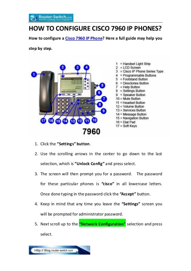 HOW TO CONFIGURE CISCO 7960 IP PHONES? How to configure a Cisco 7960 IP Phone? Here a full guide may help you step by step...
