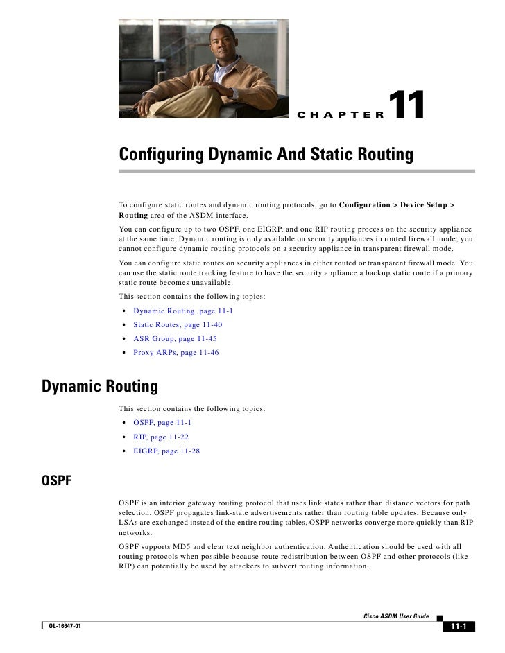 C H A P T E R              11              Configuring Dynamic And Static Routing              To configure static routes ...