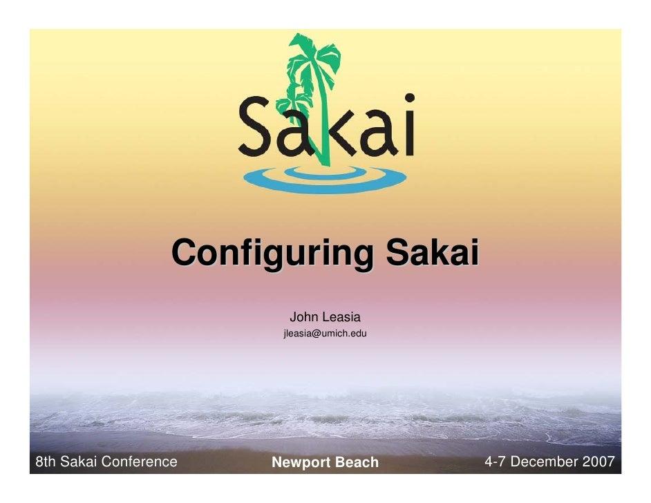 Configuring Sakai Newport
