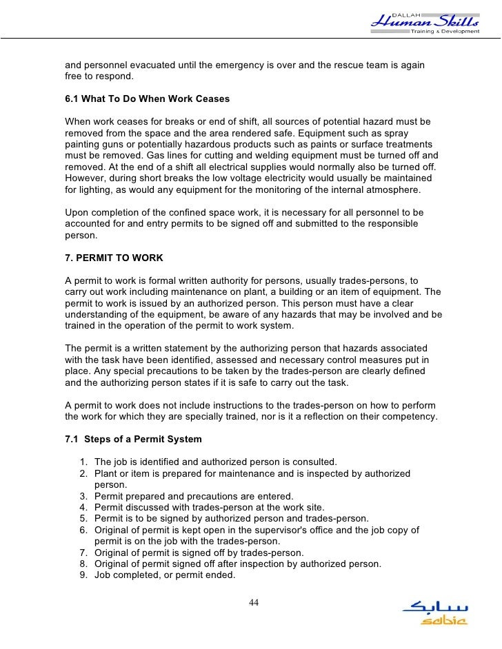 Confined space for Occupant emergency plan template